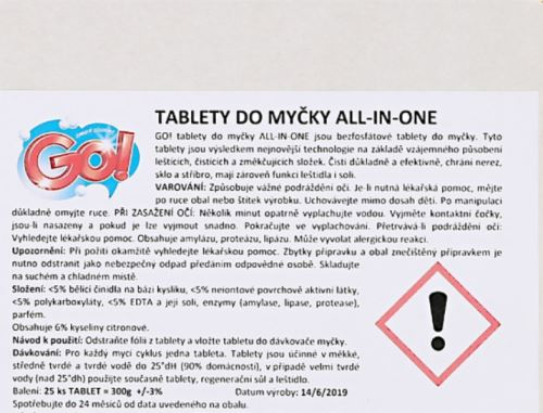 Tablety do myčky GO! ALL IN ONE  25 ks